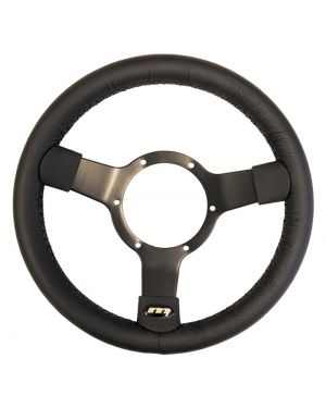"12"" Traditional 3 spoke Leather Steering Wheel With Black Centre + Optional Boss Kit for Audi"