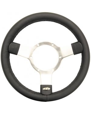 "12"" Traditional Leather 3 Spoke Steering Wheel With Polished Centre"