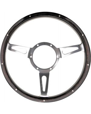 "15"" Mountney Traditional Classic Riveted Dark Woodrim Semi Dished Steering Wheel"