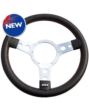 "13"" Traditional 3 spoke Leather Steering Wheel With Polished Centre - Black with red stitching"