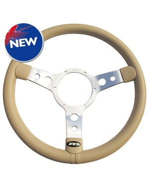 "13"" Traditional Beige Vinyl Steering Wheel with Polished Centre"
