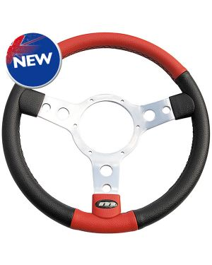 "13"" Traditional 3 spoke Vinyl Steering Wheel With Polished Centre - Black with red"