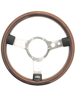 "13.5"" Traditional 3 spoke Woodrim Steering Wheel With Polished Centre"
