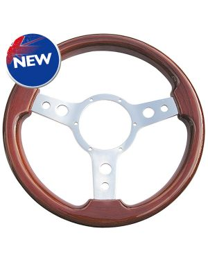 "13.5"" Traditional 3 spoke Deluxe Woodrim Steering Wheel With Polished Centre"