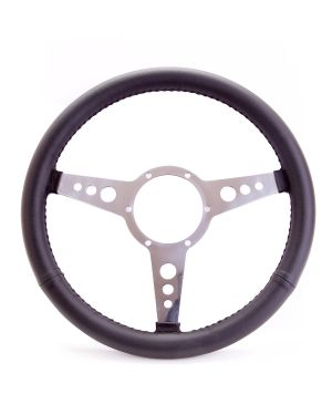 """15"""" Traditional Leather Steering Wheel with Flat Dish and Circular Spokes"""