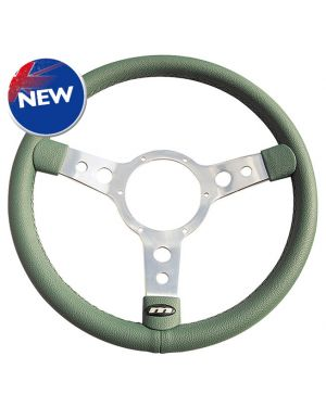"13"" Traditional 3 Spoke Green Vinyl Steering Wheel with Polished Centre"