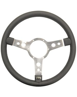 "15"" Traditional 3 spoke Leather Steering Wheel With Polished Centre - Black"