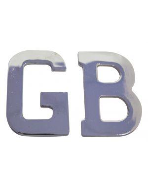 Chrome 'GB' Letters Classic Badge Self Adhesive GB1