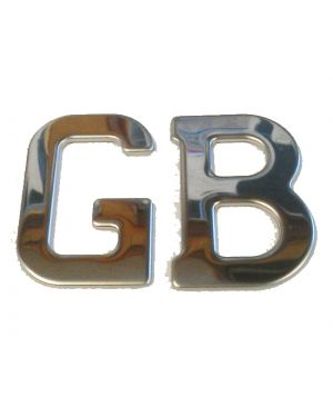 Stainless Steel 'GB' Letters Classic Badge Self Adhesive GB1SS